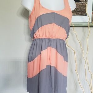 Coral and grey sun dress SzS